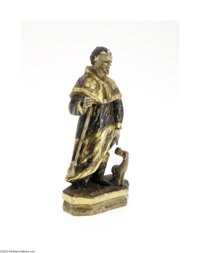 A GILT AND POLYCHROME DECORATED WOODEN SANTOS FIGURE Maker unknown, c.1880  The carved wooden pedestal base supports the...