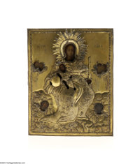 A RUSSIAN ICON Maker unknown, c.1850  The oil on board icon depicting the Virgin, Jesus and angels with a brass stylized...