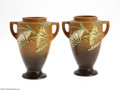 Ceramics & Porcelain, American:Modern  (1900 1949)  , A PAIR OF AMERICAN BROWN FREESIA POTTERY VASES... (2 Items)
