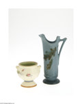 Ceramics & Porcelain, American:Modern  (1900 1949)  , AN AMERICAN POTTERY VASE AND PITCHER... (2 Items)