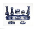 Ceramics & Porcelain, British:Modern  (1900 1949)  , EIGHT ASSORTED FLOW BLUE PORCELAINS... (10 Items)
