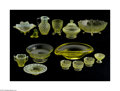 Art Glass:Other , A COLLECTION OF AMERICAN VASELINE GLASS ITEMS... (15 Items)