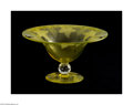 Art Glass:Other , AN AMERICAN ETCHED VASELINE GLASS COMPOTE...