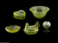 Art Glass:Other , A COLLECTION OF AMERICAN VASELINE GLASS ITEMS... (7 Items)