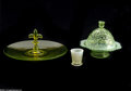 Art Glass:Other , TWO OPALESCENT ITEMS AND VASELINE GLASS CAKE PLATE... (4 Items)