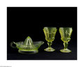 Art Glass:Other , A PAIR OF AMERICAN VASELINE GLASS GOBLETS AND JUICER... (3 Items)