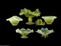 Art Glass:Other , SIX AMERICAN VASELINE GLASS ITEMS... (6 Items)