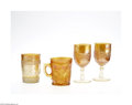 Art Glass:Other , A GROUP OF AMERICAN OPALESCENT MARIGOLD PRESSED GLASS ITEMS... (4Items)