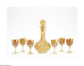 Art Glass:Other , AN AMERICAN MARIGOLD 'OCTAGON' CARNIVAL GLASS CORDIAL SET... (8Items)