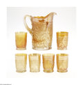 Art Glass:Other , AN AMERICAN 'MAPLE LEAF' CARNIVAL GLASS WATER SET... (7 Items)