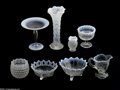 Art Glass:Other , A GROUP OF AMERICAN WHITE OPALESCENT GLASS ITEMS... (8 Items)