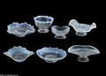 Art Glass:Other , SEVEN WHITE OPALESCENT GLASS ITEMS... (7 Items)