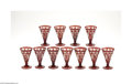 Art Glass:Other , A SET OF ELEVEN BOHEMIAN RUBY CUT GLASS GOBLETS... (11 Items)