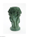 Art Glass:Other , A BOHEMIAN MALACHITE GLASS VASE...
