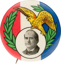 William Jennings Bryan: Striking and Colorful Single Portrait Pin from the Golden Age Election of 1908