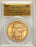 Liberty Double Eagles: , 1857-S $20 Spiked Shield, Variety 20A, MS64 PCGS. PCGS Population: (1082/766). CDN: $8,250 Whsle. Bid fo...