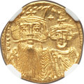 Ancients:Byzantine, Ancients: Constans II Pogonatus (AD 641-668), with Constantine IV (AD 654-685). AV solidus (20mm, 4.36 gm, 6h). NGC MS 5/5 - 4/5, clippe...