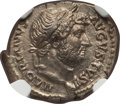Ancients:Roman Imperial, Ancients: Hadrian (AD 117-138). AR denarius (20mm, 3.30 gm, 5h).NGC MS 5/5 - 3/5, Fine Style....
