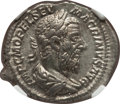 Ancients:Roman Imperial, Ancients: Macrinus (AD 217-218). AR denarius (20mm, 3.67 gm, 1h). NGC AU ★ 5/5 - 5/5, Fine Style....