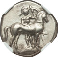 Ancients:Greek, Ancients: CALABRIA. Tarentum. Ca. 380-334 BC. AR stater or didrachm(22mm, 7.88 gm, 1h). NGC Choice VF 5/5 - 3/5, brushed....