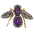 Estate Jewelry:Brooches - Pins, Diamond, Tsavorite, Amethyst, Gold, Silver Brooch. ...