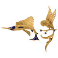 Estate Jewelry:Brooches - Pins, Diamond, Sapphire, Enamel, Gold Brooches. ... (Total: 2 Items)