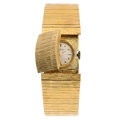 Estate Jewelry:Bracelets, Swiss Lady's Covered Dial Gold Watch. ...