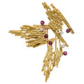 Estate Jewelry:Brooches - Pins, Diamond, Ruby, Gold Brooch The brooch features...