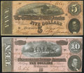 Confederate Notes:1864 Issues, T68 $10 1864 Very Fine-Extremely Fine;. T69 $5 1864 Very Fine-Extremely Fine.. ... (Total: 2 notes)