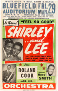 Music Memorabilia:Posters, Shirley and Lee Bluefield Auditorium Concert Poster (1958). Very Rare....