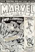 Original Comic Art:Covers, Jim Starlin and Joe Sinnott Mighty World of Marvel #19 Cover Fantastic Four Original Art (Marvel UK, 1973)....