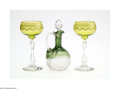 Art Glass:Other , A PAIR OF WINE GOBLETS AND A GLASS CRUET... (4 Items)