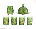 Art Glass:Other , A SET OF AMERICAN CROESUS IMPERIAL GREEN PRESSED GLASS ITEMS... (7Items)
