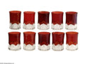Art Glass:Other , A SET OF TEN RUBY CUT GLASS TUMBLERS... (10 Items)