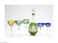 Art Glass:Other , FIVE BOHEMIAN GOBLETS AND DECANTER... (7 Items)
