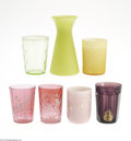 Art Glass:Other , SIX COLORED GLASS TUMBLERS AND A BULB VASE... (7 Items)
