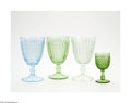 Art Glass:Other , FOUR HOBNAIL GOBLETS... (4 Items)