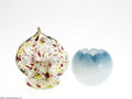 Art Glass:Other , A SPANGLED VASE AND ROSE BOWL... (2 Items)