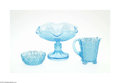Art Glass:Other , THREE AMERICAN PRESSED GLASS ITEMS... (4 Items)