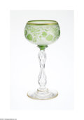 Art Glass:Other , AN AMERICAN ETCHED AND ENAMELED GLASS GOBLET...