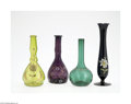 Art Glass:Other , THREE CONTINENTAL ENAMELLED GLASS BARBER BOTTLES AND A VASE... (4Items)