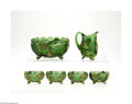 Art Glass:Other , A SET OF SIX AMERICAN CROESUS IMPERIAL GREEN GLASS ITEMS... (6Items)