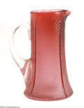 Art Glass:Other , AN AMERICAN CRANBERRY PRESSED GLASS PITCHER...