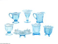 Art Glass:Other , SEVEN BLUE OPALESCENT GLASS SERVING PIECES... (7 Items)