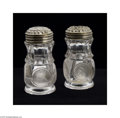 Art Glass:Other , A PAIR OF AMERICAN PRESSED GLASS SHAKERS... (2 Items)