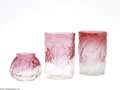 Art Glass:Other , TWO AMERICAN BLOWN GLASS TUMBLERS AND A CABINET VASE... (3 Items)