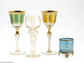 Art Glass:Other , THREE GLASS GOBLETS AND A GLASS MATCH HOLDER... (4 Items)