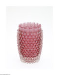 Art Glass:Other , AN AMERICAN CRANBERRY HOBNAIL GLASS VASE...