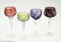 Art Glass:Other , FOUR BOHEMIAN GLASS GOBLETS... (4 Items)