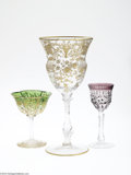 Art Glass:Other , THREE PIECES OF ASSORTED GLASS STEMWARE... (3 Items)